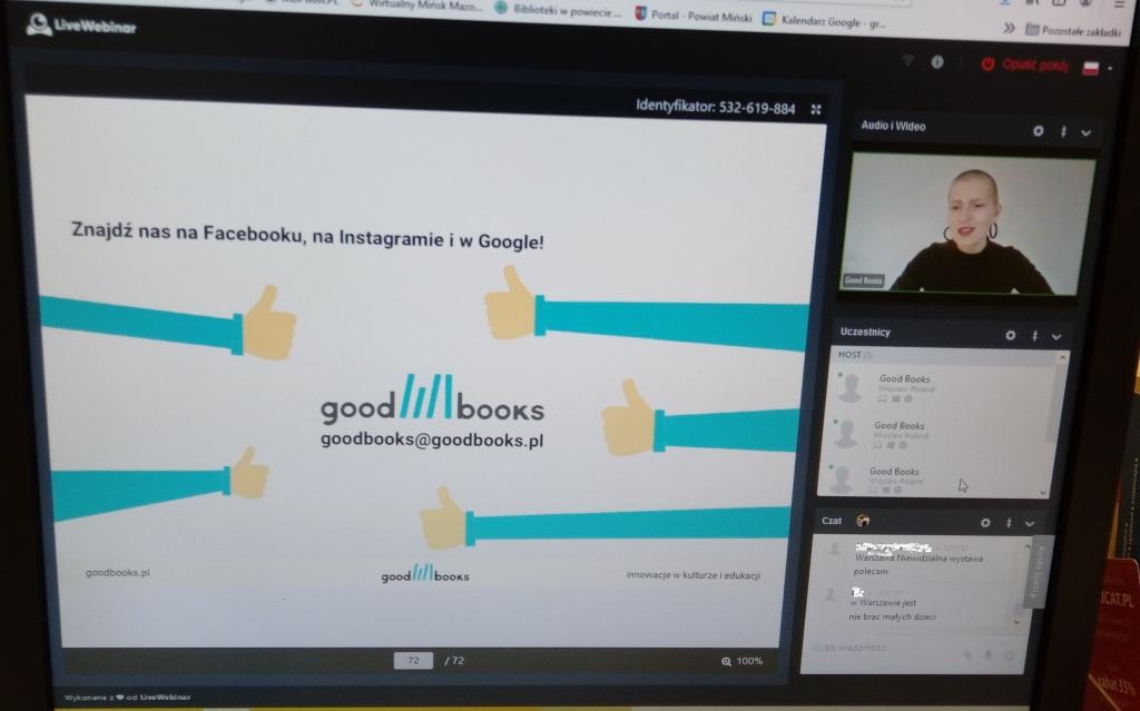 Zdjęcie przedstawia ekran monitora podczas szkolenia z dostępności stron internetowych, widać Logo firmy Good Books oraz prowadzącą i okno czatu internetowego.